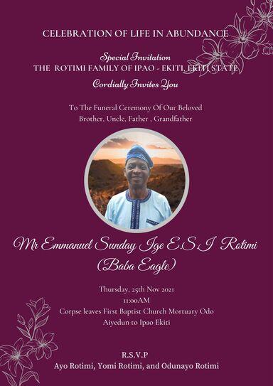 Funeral Service of Elder E.S.I Rotimi